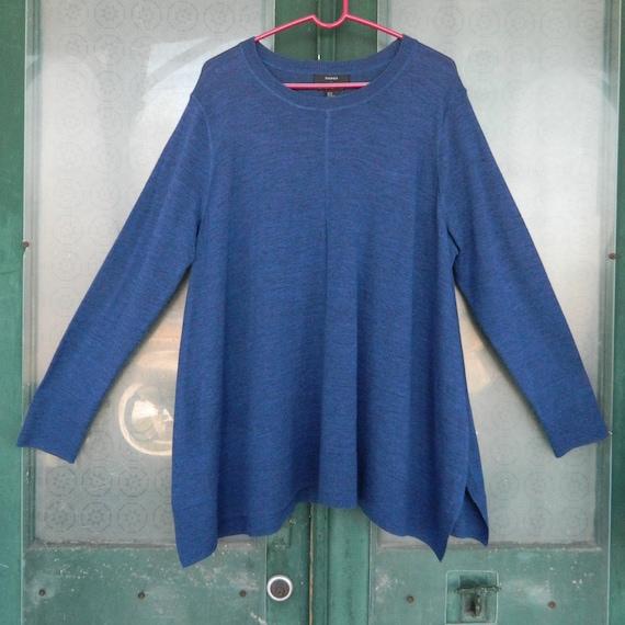 Tahari A-line Pullover Sweater -2X- Blue Merino Wool