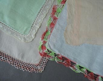 4 Vintage Hankies with Crochet Edges, Peach, Green & Coral,  1950s