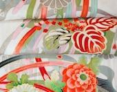 Bold Blossoms with Metallic Silver  // Japanese Kimono Fabric // Last Piece!