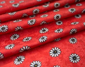 White Daisies on Vibrant Red  // Vintage Japanese Kimono Fabric
