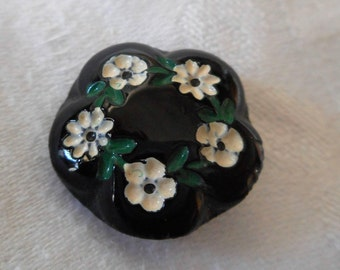 VINTAGE Scallop Black Glass Painted Flower BUTTON