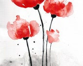 Poppy painting - 8x12in canvas-  abstract watercolor flower art 2