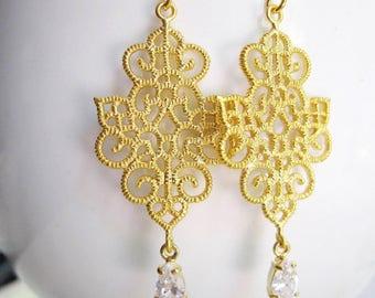Gold filigree Earrings, Lace Patterned Pendant, Small Crystal Teardrop, Bohemian, Vintage style, Gardendiva