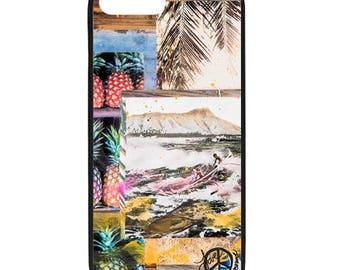 NEW iPhone 8/8+ Case, OUTRIGGER HI, Hawaii, Diamond Head, Canoe, Pineapple, Beach, Surf, Surf Art, Ocean, Art, black case, Apple iPhone
