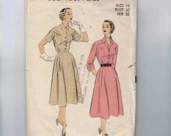 1950s Vintage Sewing Pattern Advance 6039 Misses Full Skirt Shirtwaist Dress Gathered Yoke Size 14 Bust 32 1950s 50s
