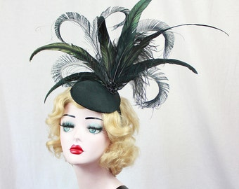 Black Headdress - Peacock Feather Fascinator - Cocktail Hat - Showgirl Headpiece - High Fashion - Ascot Races - Kentucky Derby