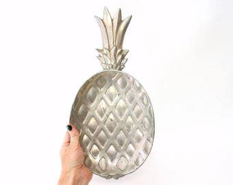 Large Silver Tone Metal Pineapple Tray by Bruce Fox (As Is)
