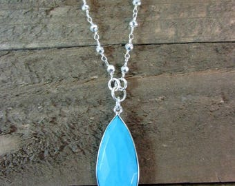 Turquoise Necklace, Sterling Silver & Turquoise Pendant, Gemstone Pendant