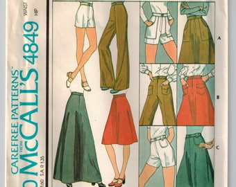 Vintage 70s Skirt Pants or Shorts Retro Sewing Pattern Waist 30 Long or Short Skirt Wide Leg Pants Patch Pocket Variations Button Waistband