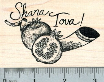 Rosh Hashanah Rubber Stamp, Shana Tova, Shofar and Pomegranate L32503 Wood Mounted