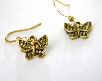 Gold Color Butterfly Earrings Dangle Earrings