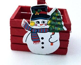 Vintage Wooden Snowman Basket Christmas Ornament