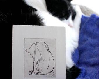 MATTED Original Artwork Etching Cat Blind Contour Drawing Tailless Cat Feline Matted Artwork