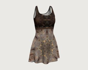 Boho Flower Mandala Tile Short Flare Dress Light Dark Brown Grey and Caramel