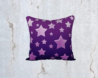 Celestial Purple Floating Stars Throw Pillow Cover