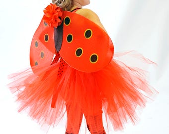 Ladybug Flower Tutu Dress with matching wings & hairbow - Perfect for Halloween costume, Photo Prop, Birthday, Custom made in Sz 1-5T