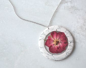Red Pressed Rose Necklace, Pressed Flower Necklace, Botanical Jewelry