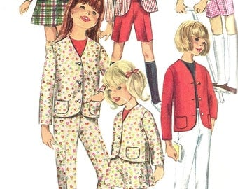 Child's A Line Skirt Pattern 1960s Jacket Pants Shorts Uncut Children's Vintage Sewing Simplicity Girl's Size 6