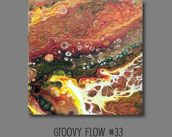 Groovy Abstract Acrylic Flow Painting #33 Ready to Hang 4x4