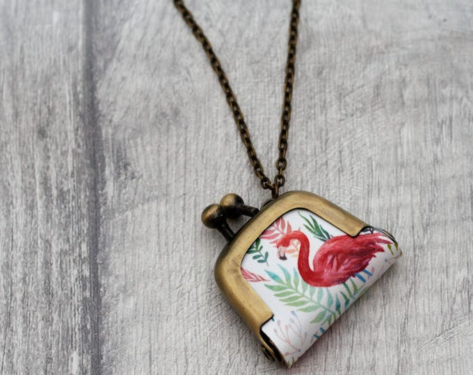 Flamingo Coin Purse Necklace, Bird Necklace, Woodland Jewelry