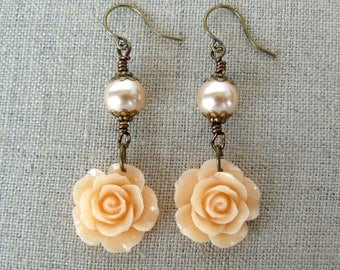 Peach Rose and Pearl Earrings, Romantic Floral Dangles, Vintage Inspired Apricot Flower and Swarovski Pearl Jewelry, Garden Lover Gift
