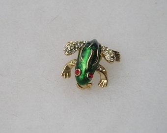 Adorable Vintage Green Enamel & Rhinestone Frog Pin