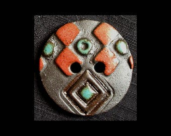 Handmade Ceramic Button: Red and Turquoise on Black Basaltic Stoneware