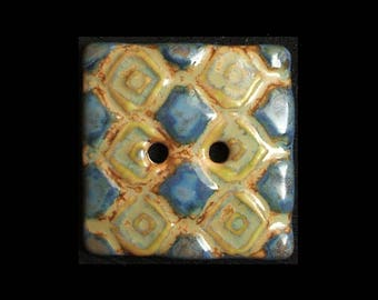 Handmade Square Ceramic Button: Sea Blues and Rusty Greens on Translucent White Porcelain
