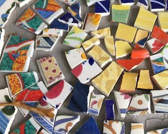 Mosaic Tiles Mixed Lot Bright Colors Hand Cut Broken China 80 Pieces Blue Green Yellow
