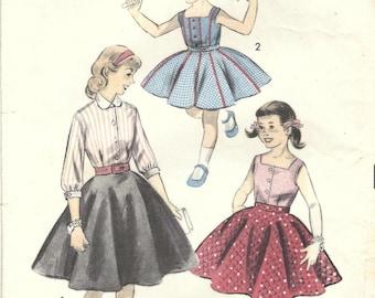 1950s Advance 7991 Vintage Sewing Pattern Girls Circle Skirt, Blouse, Sleeveless Top Size 6