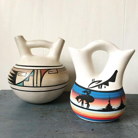 vintage Native American wedding vase - Navajo Pueblo pottery - Janet Dine - boho Southwestern - wedding housewarming gift
