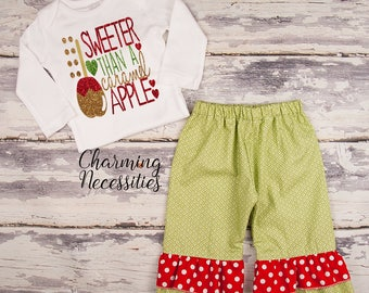 NEW Fall Thanksgiving Outfit, Baby Toddler Girl Clothes, Top Ruffle Pants Set, Sweet Than a Caramel Apple Charming Necessities Green Red