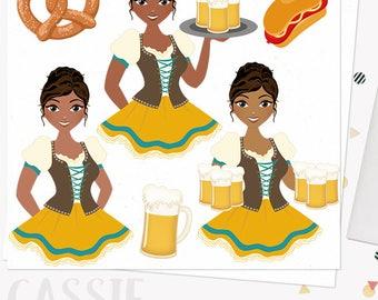 Oktoberfest celebration woman clip art, german beer fest, pretzel, ale, bratwurst octoberfest, african american dark skin tone (Cassie L284)