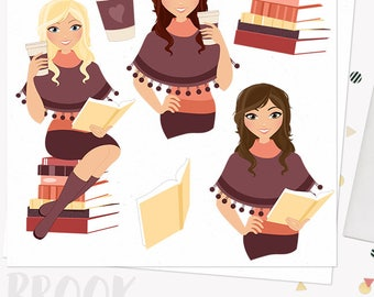Autumn woman coffee character clipart, book club reading, fall poncho, boho style, java to go cup, blonde, brunette, auburn (Brook L285)