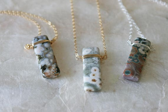 Ocean Jasper Necklace on Delicate Chain