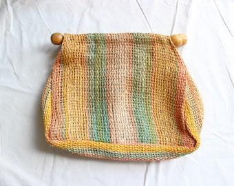 Colorful Natural Woven Clutch with Wooden Handles / Raffia Sisal Jute Bag / Market Tote / Women's Clutch / Vintage Handbag / 1970s