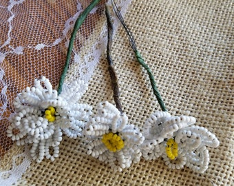 Set of Three (3) Vintage Glass Hand-Beaded Flower Picks, Flowers, White, Daisies