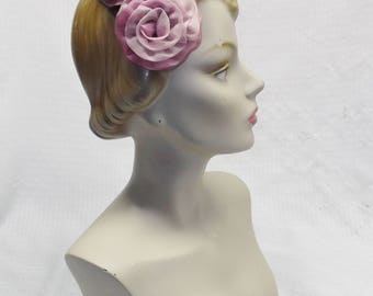 50s 60s Vintage Violet and Lavender Nylon Rose Half Hat Head Band