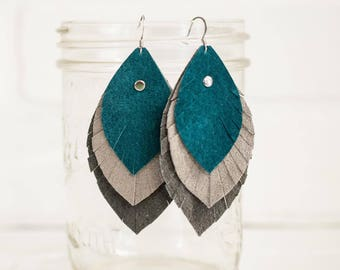"3 1/2"", recycled, leather feather earrings, leaf earrings, boho earrings, dangle earrings, feather earrings, tassel earrings, stacylynnc"