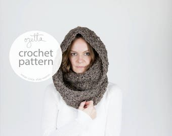 Crochet Pattern / Chunky Infinity Scarf, Cowl, Textured Scarf, Hooded Cowl / THE OREGON