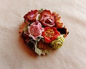 Green tea berry red pink daisy mix Handmade Roses Vintage style Millinery flower corsage