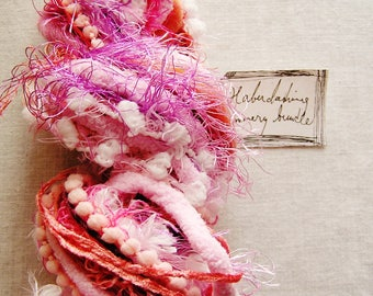 Bubble Gum Pop pink mix Pom Pom Puffy Fringe Trim Embellishment