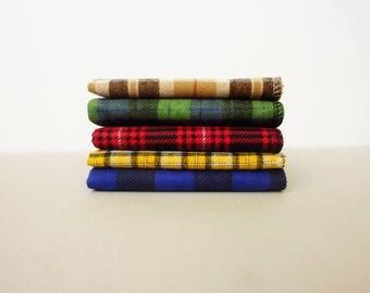 Mens Handkerchief Set Plaid Hanks -Square Flannel Hankies -Reusable Tissue Plaid Hankerchief Handmade Last Minute Gift for Dad
