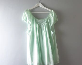 Vintage Pale Green Babydoll Nightie | 1980s Pale Green Pajama Top Nightie XL