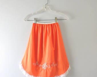 Vintage Orange Slip   1960s Orange Embroidered Half Slip XS Deadstock