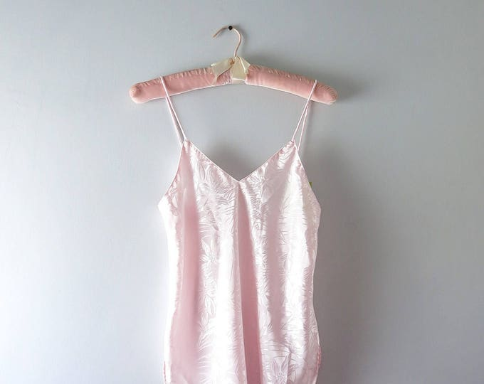 Vintage Pink Camisole | 1980s Pink Satin Camisole Top XS | 80s Pink Floral Satin Top