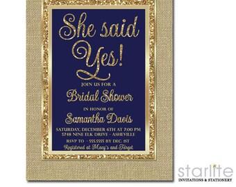Navy Gold Bridal Shower Invitation, Bridal Shower Invitation Navy and Gold Glitter, She Said Yes, Engagement Party Invitation Navy and Gold