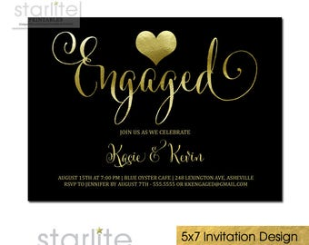 Engagement Party Invitation with Gold Heart, Black and Gold Engagement Invitation, Engagement Announcement, Engagement Wedding Shower Invite