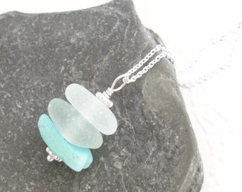 Blue Ombre Necklace, Turquoise Sea Glass Jewelry, Aqua Stacked Pendant