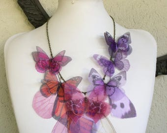 Handmade Butterfly Necklace, Pink Fucsia Lilac and Orange Silk Organza Fabric Butterflies Moths and Wings Necklace, Statement Necklace
